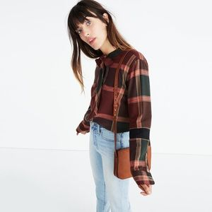 Madewell plaid tie neck top